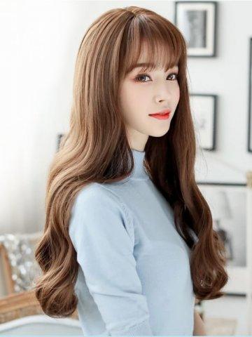 【W02519】【魔術假髮】 花樣少女 空氣瀏海仿真頭皮長捲髮