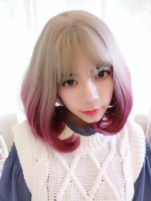 【W02596】星願泡泡糖 亞麻灰漸層玫瑰紅 大頭皮 內捲短髮