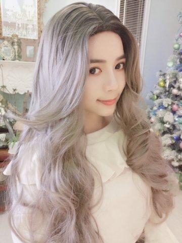 【W02669】慵懶女神范 中分大波浪 大頭皮 長捲髮