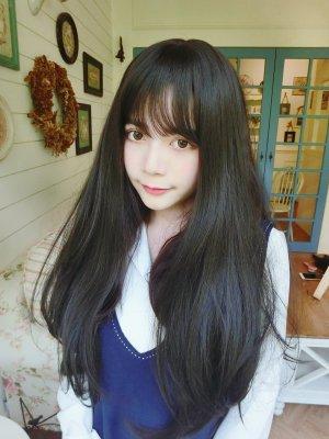 【W02737】【魔術假髮】 淘氣小貓 空氣瀏海仿真頭皮微彎長髮