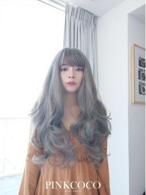 【W02778】雪藏精靈 齊瀏海 長捲髮假髮 - 亞麻灰