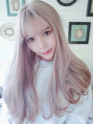 【WA1110】玫瑰灰粉 空氣瀏海 大頭皮 內彎中長髮