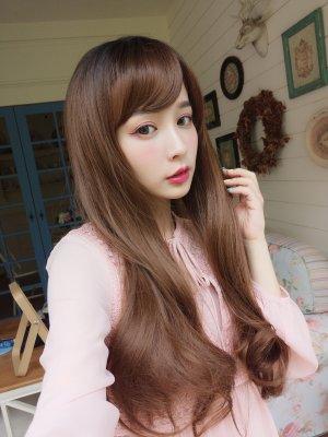 【W00188】甜蜜花戀 大頭皮 髮尾捲捲 旁分微捲長髮 整頂假髮