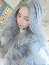 【W01058】冷豔煙灰色 大頭皮 中分長捲髮假髮